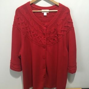 CJ Banks long cable knit sweater. Size 3X
